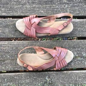 Vintage Woven Leather Wedge Heel Sandals Open Toe